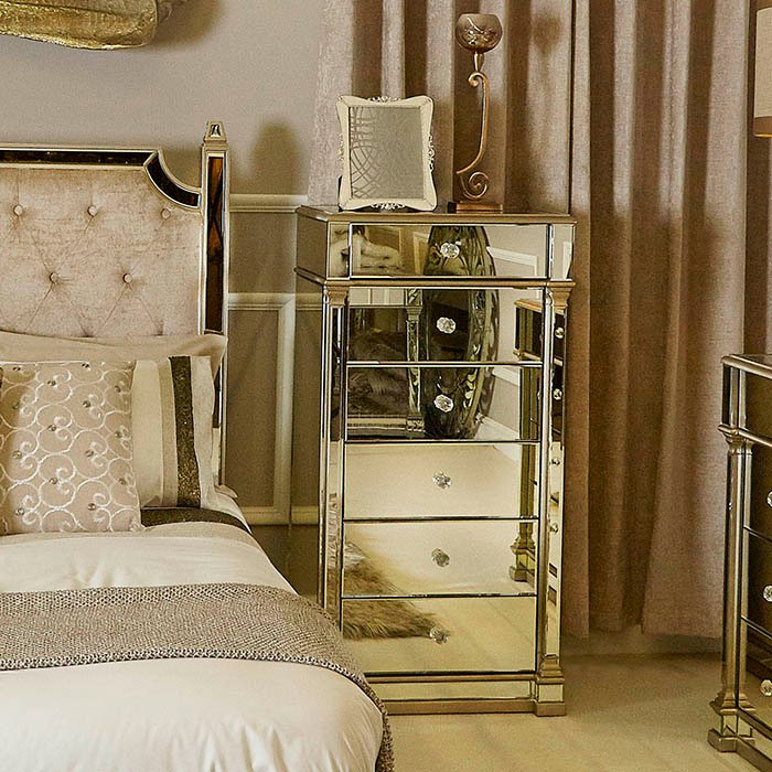 Andreas Champagne Gold Trim Mirrored 6 Drawer Tallboy
