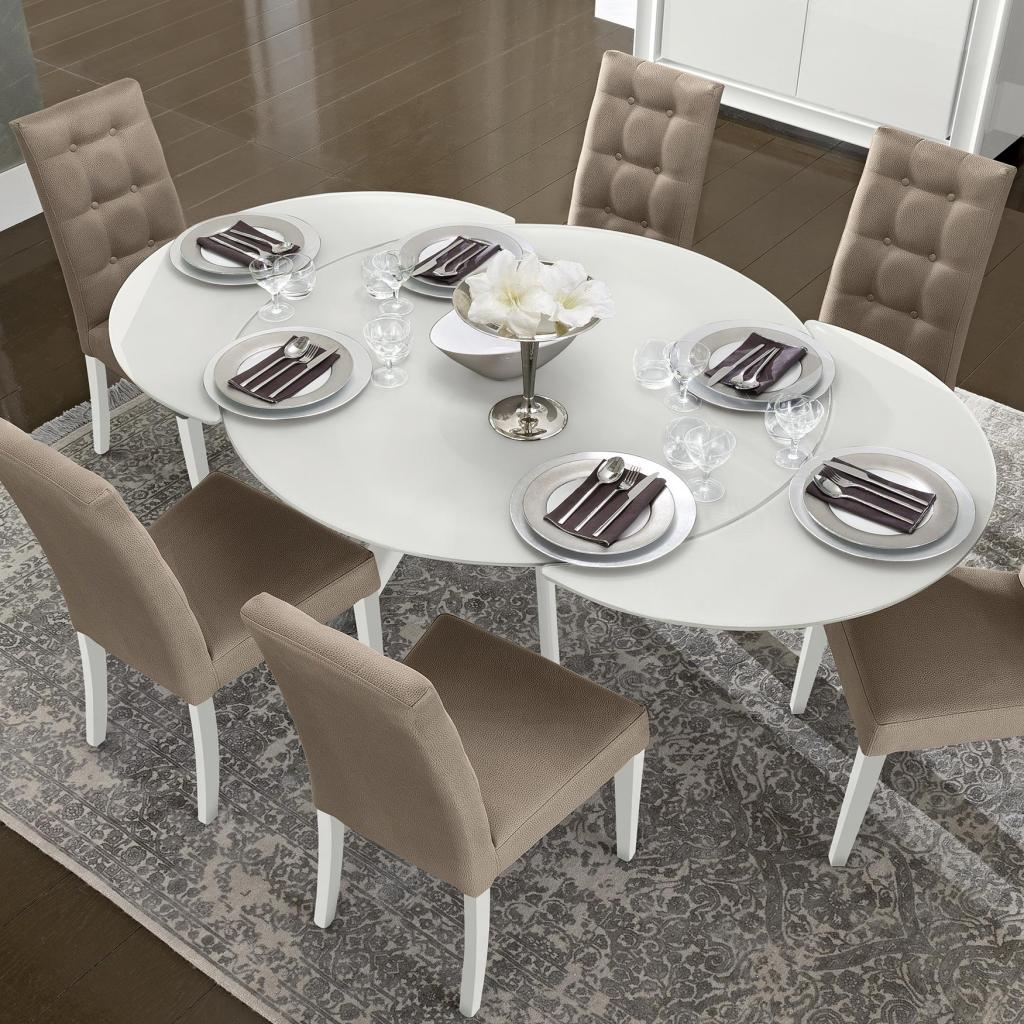 Bianca White High Gloss & Glass Round Extending Dining Table 1.2-1.9m