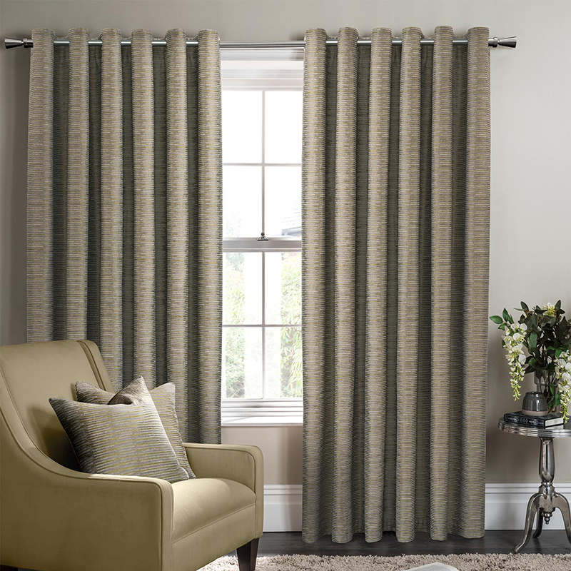 Campello Olive Readymade Eyelet Curtain