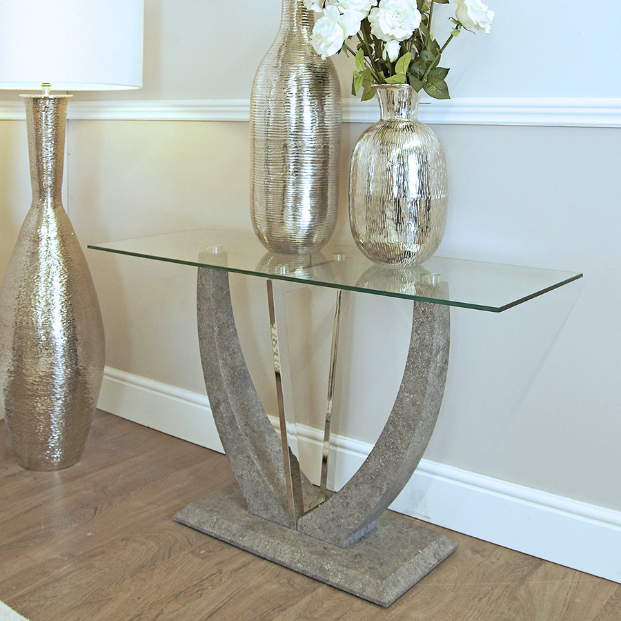 Lex Glass & Grey Stone Console Table