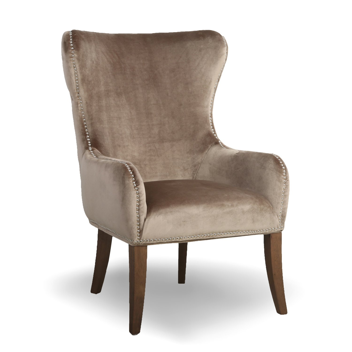 Macy Natural Button Back Studded Winged Armchair