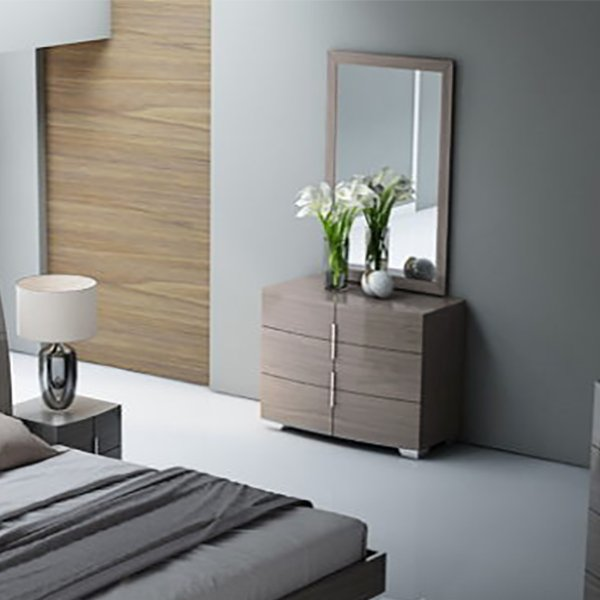 Amelle Chestnut Brown High Gloss & Brushed Steel 3 Drawer Chest of Drawers