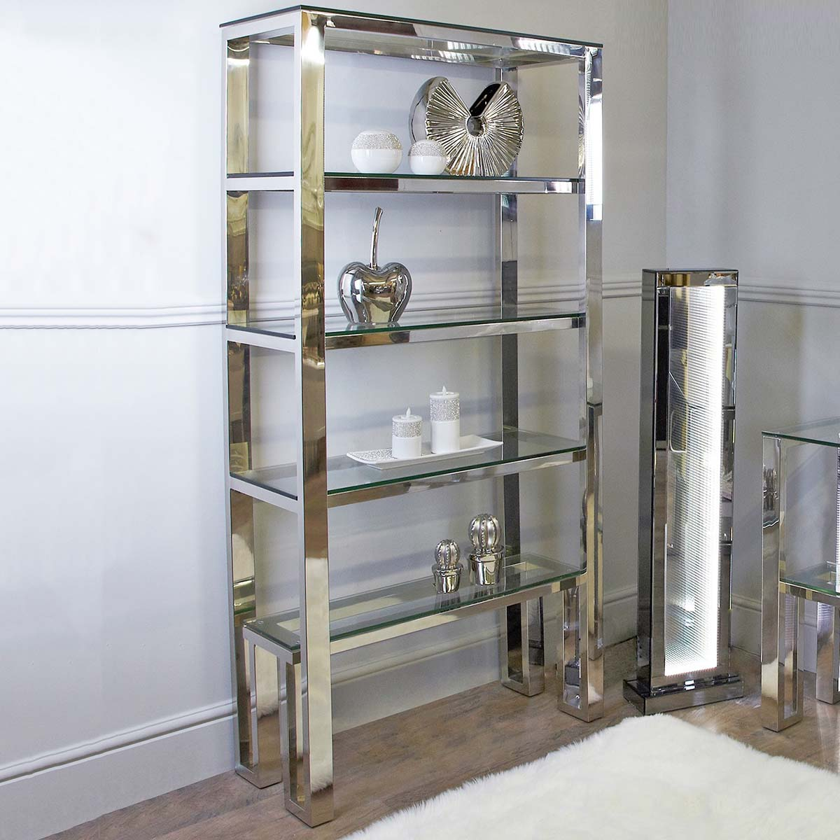 Ophelia Chrome Display Shelving Unit