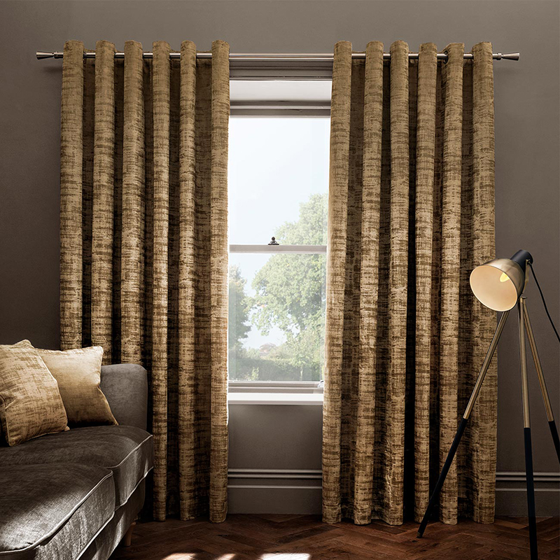 Naples Gold Velvet Readymade Eyelet Curtain
