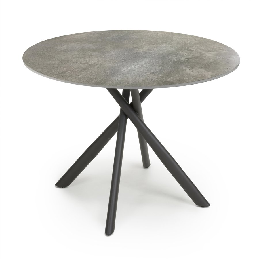 Avensis 1m Grey Round Marble Effect Glass Dining Table