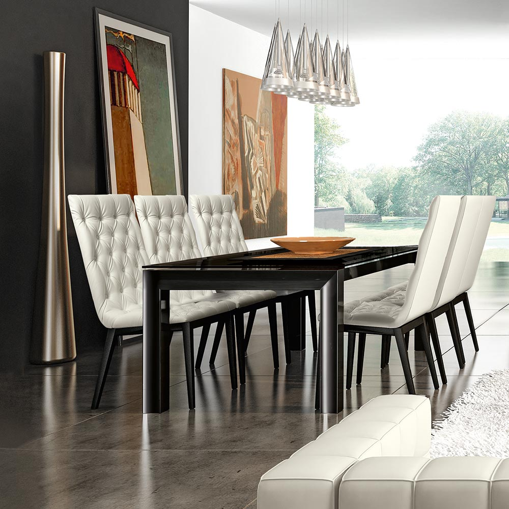 Minton Black High Gloss & Glass Extending 1.4-3.2m Dining Table