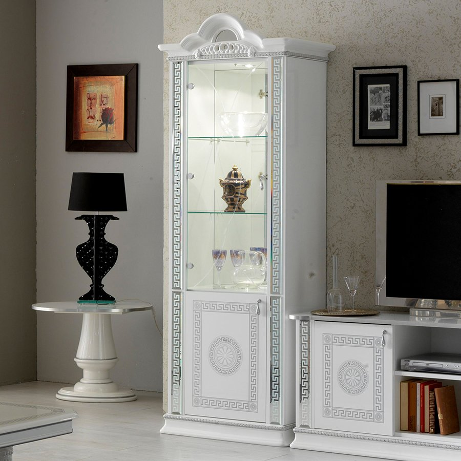 Vittorio White & Silver High Gloss 1 Door Display Cabinet