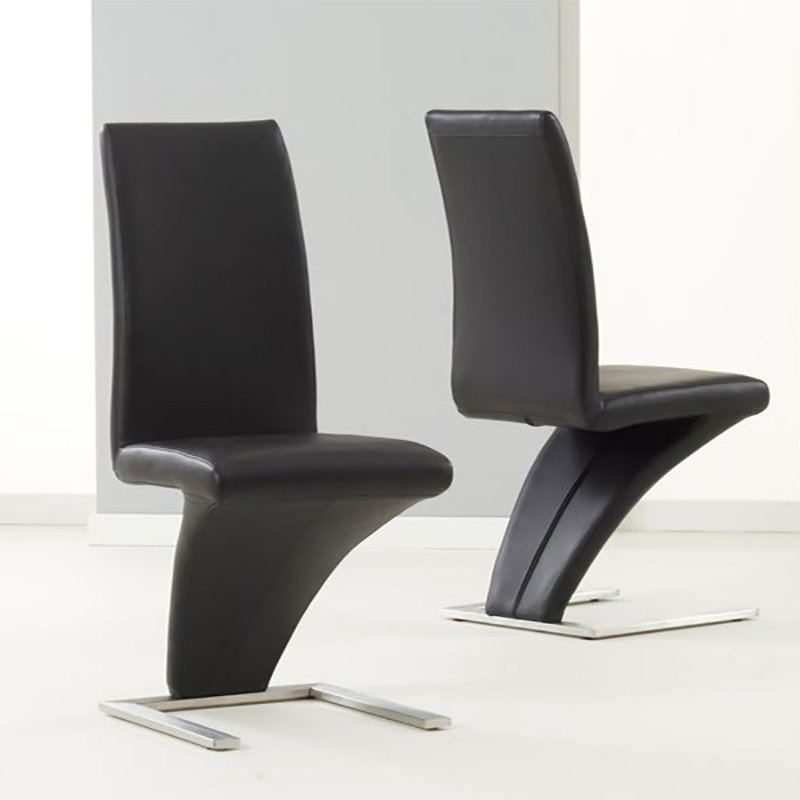 Hereford Black Faux Leather & Chrome Z Chair