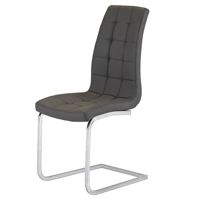 Enzo Grey Faux Leather & Chrome Dining Chair