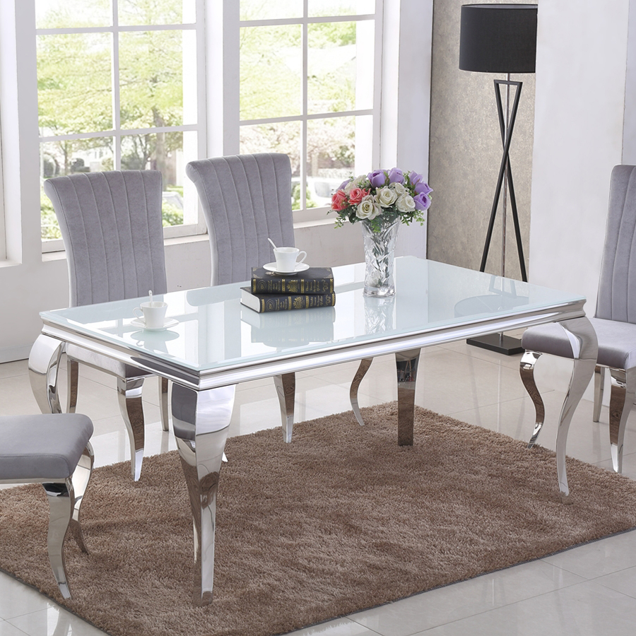 Liyana White Glass Dining Table