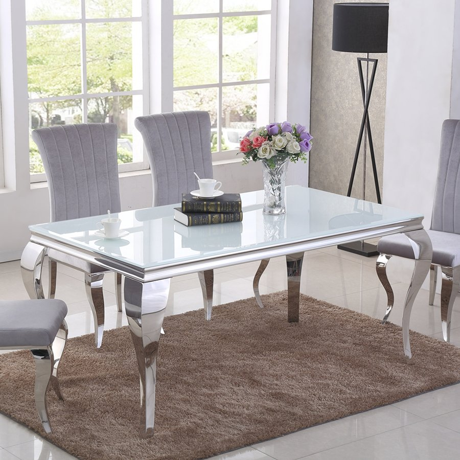 Liyana 1.6m White Glass & Chrome Dining Table