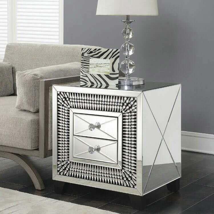 Crawford 2 Drawer Mirrored Crystal Lamp Table