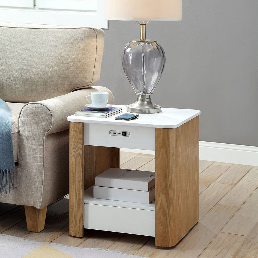 San Francisco Ash Wood & White Gloss Smart Bedside Table With Wireless Charger