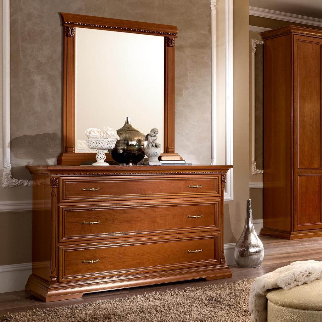 Treviso Ornate Cherry Wood 3 Drawer Chest of Drawers