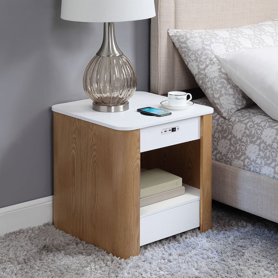 San Francisco Ash Wood & White Gloss Smart Bedside Table With SPEAKERS, Wireless Charger & Light