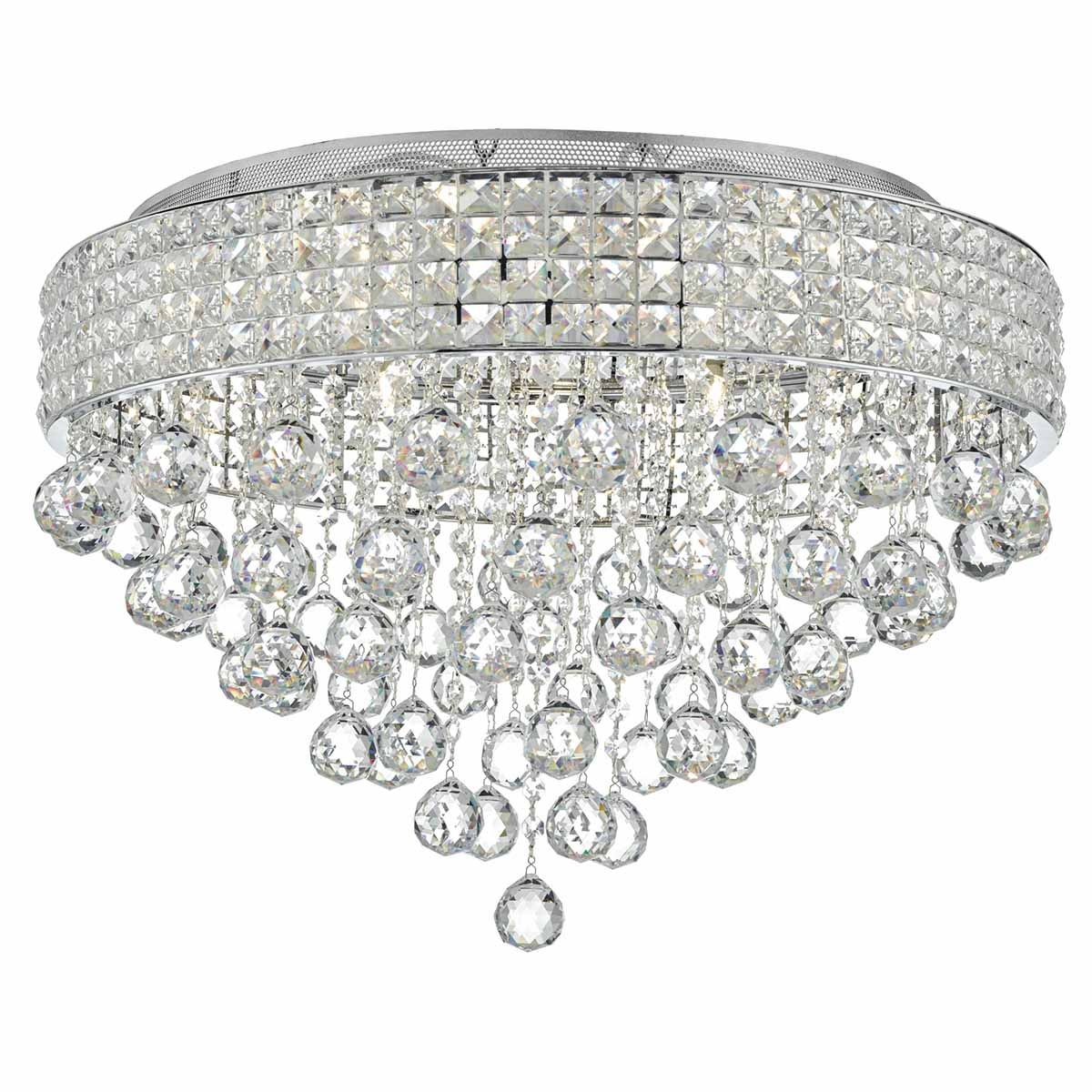 Matrix 9 Bulb Polished Chrome & Crystal Flush Ceiling Light