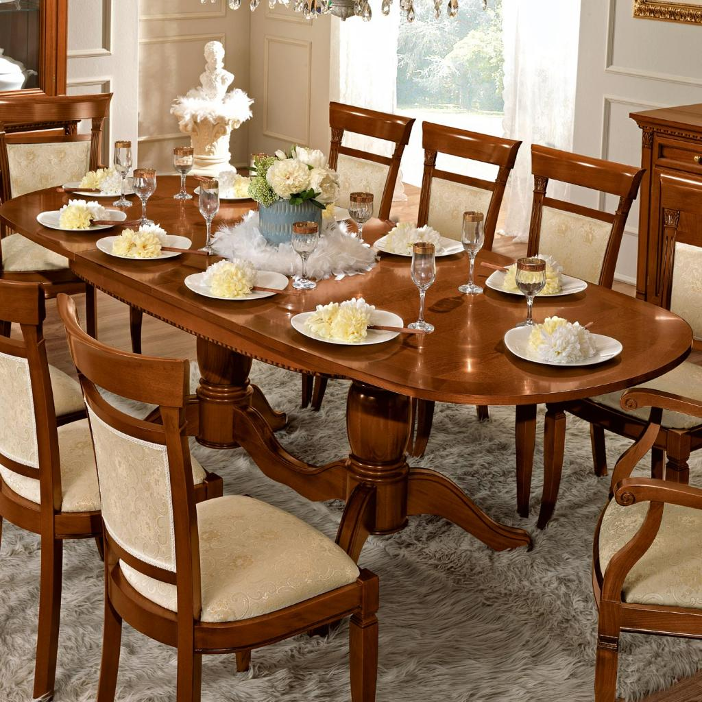 Treviso Ornate Cherry Wood 9 Piece 1.6-2.4m Oval Extending Table Set