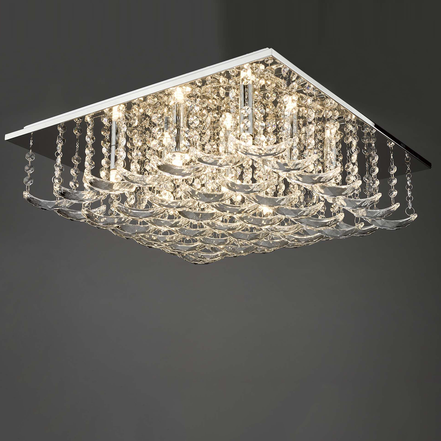 Orella 9 Bulb Polished Chrome & Crystal Flush Ceiling Light