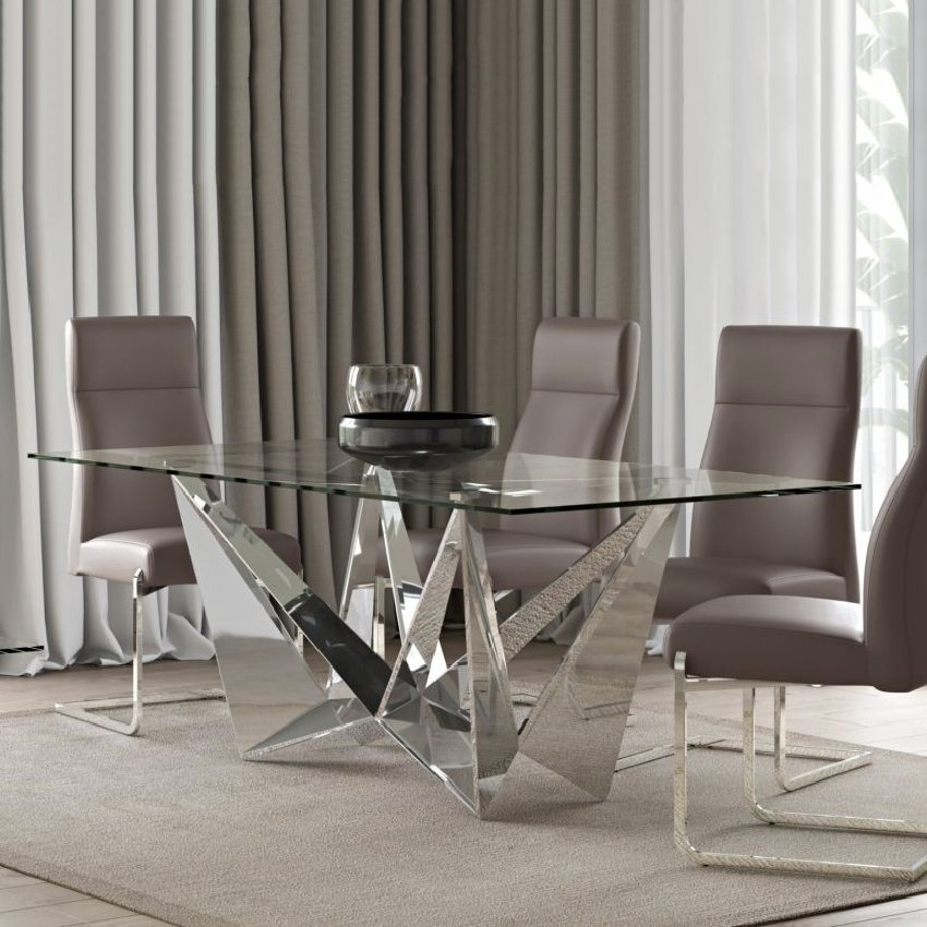 Florentina 2m Glass & Silver Dining Table