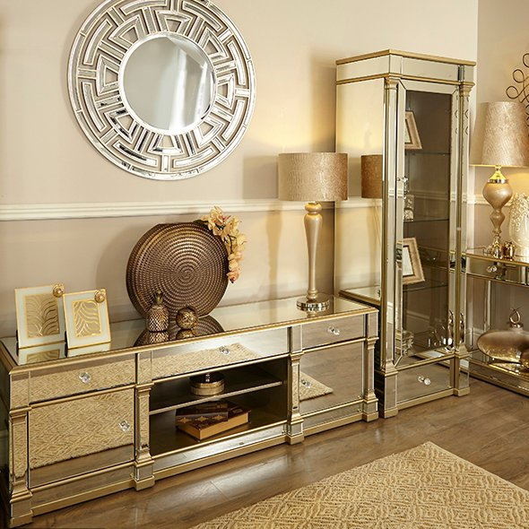 Andreas Champagne Gold Trim Mirrored 2 Door, 3 Drawer TV Unit
