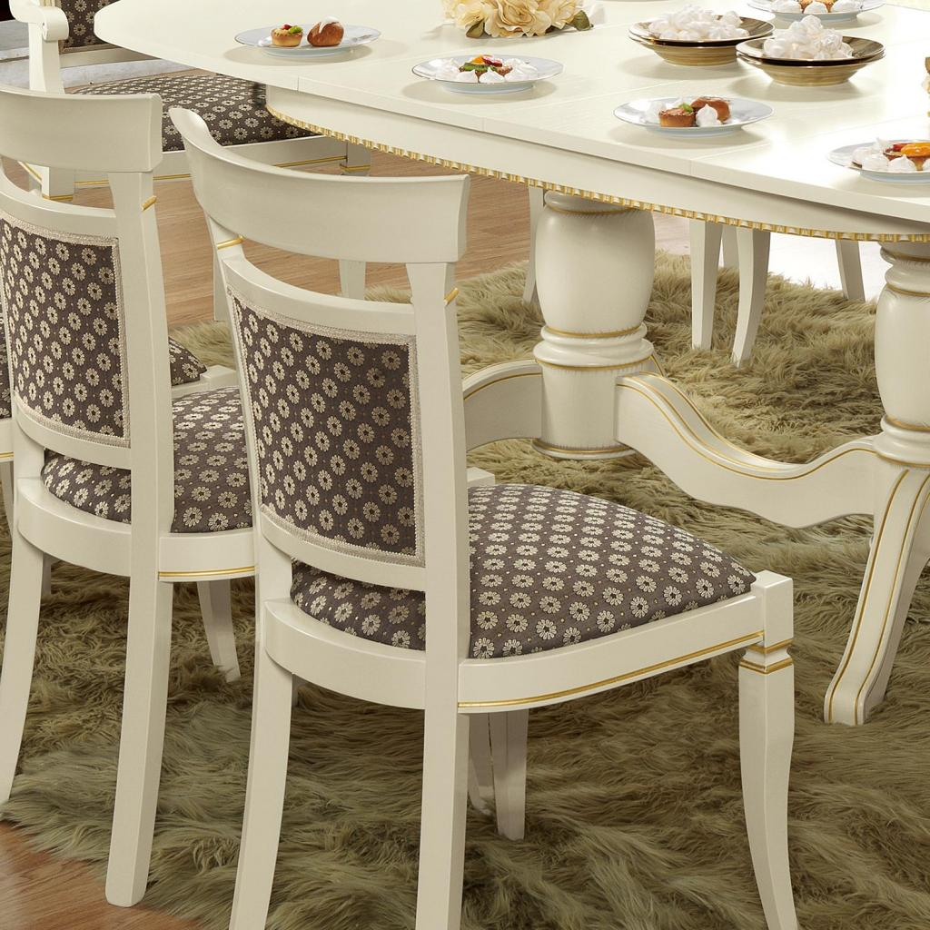 Treviso Ornate Ivory Ash Wood Dining Chair