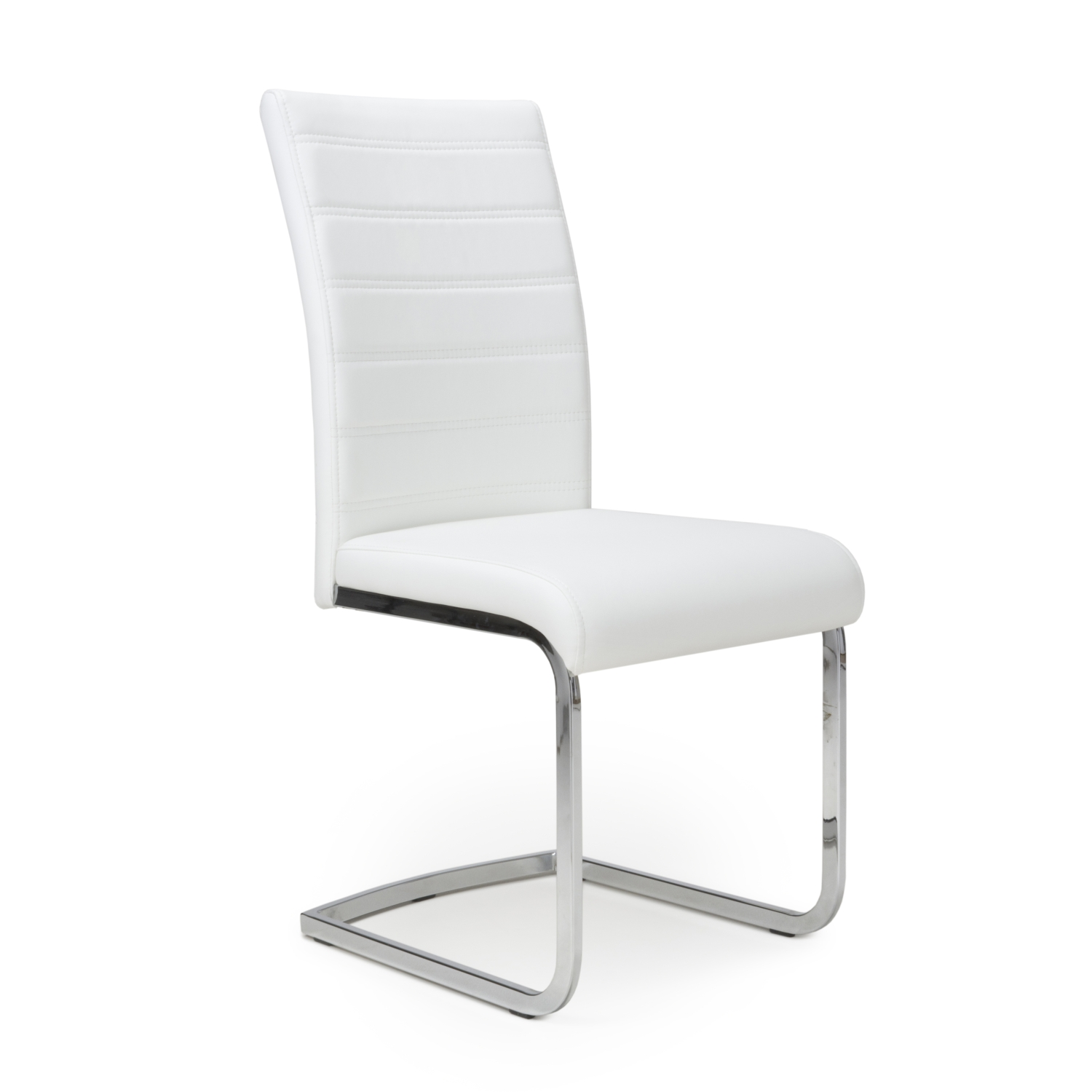 Carlton White Faux Leather Floating Dining Chair