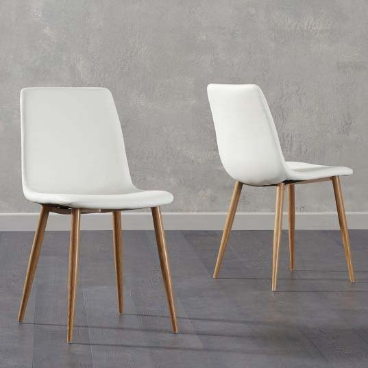 Hatfield White Faux Leather Wooden Leg Dining Chair