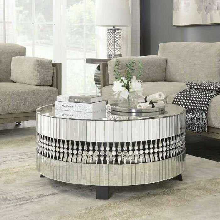 Crawford Round Mirrored Crystal Coffee Table