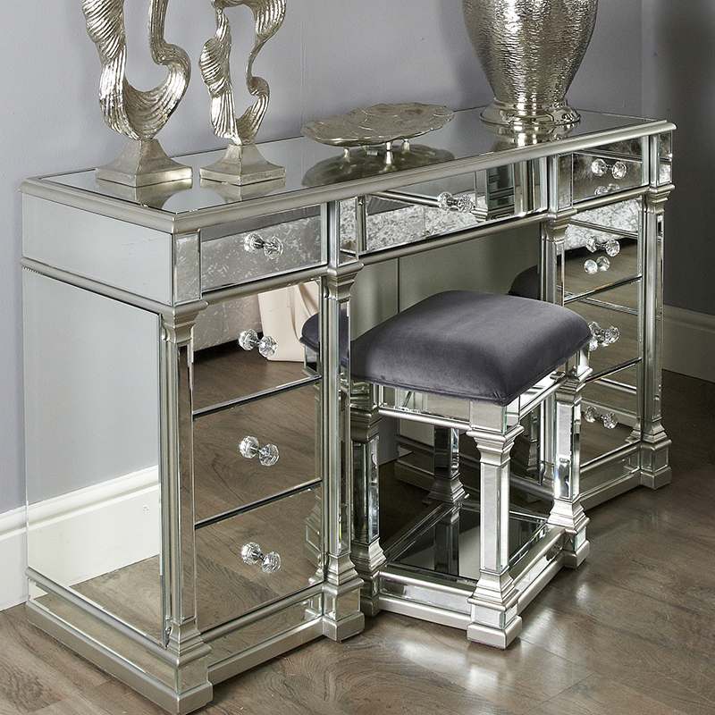 Andreas Silver Trim Mirrored 9 Drawer Dressing Table