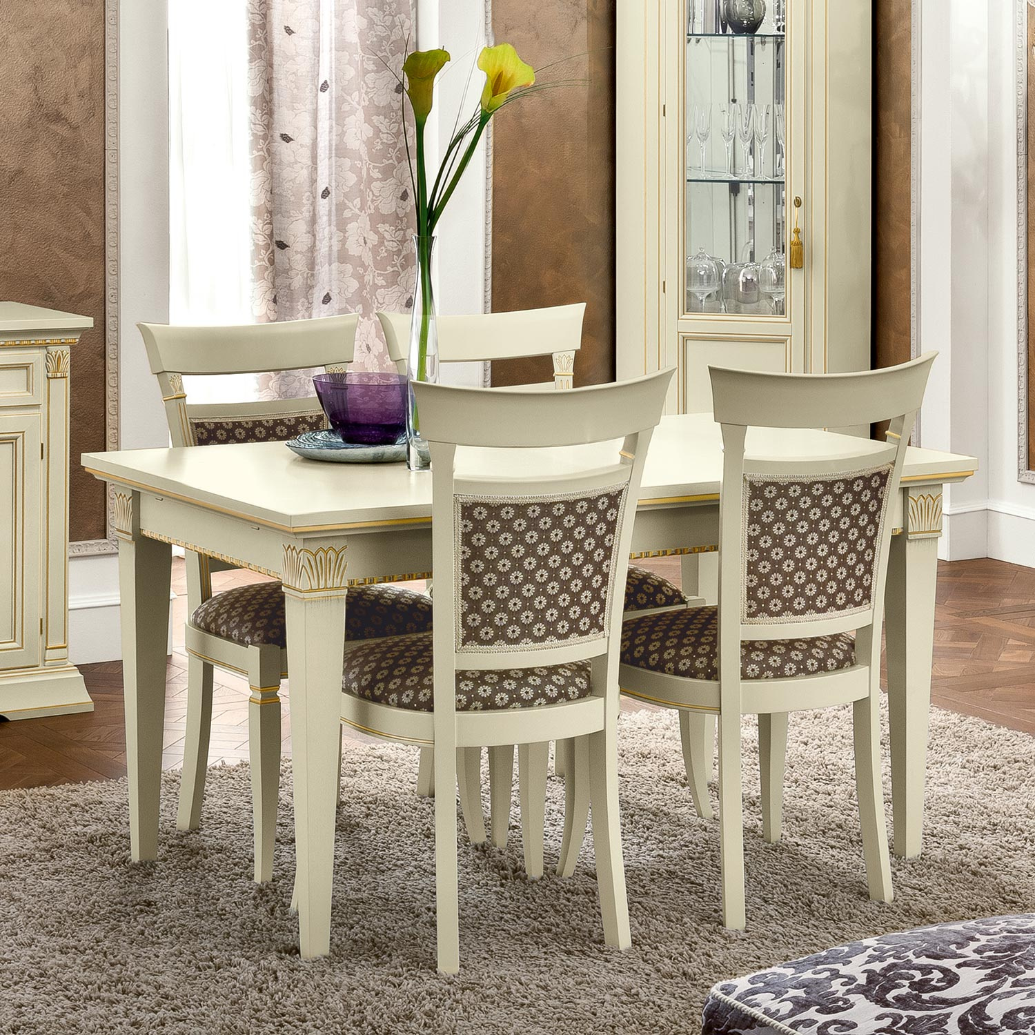 Treviso Ornate Ivory Ash Wood 5 Piece 1.4-2.3m Extending Dining Table Set