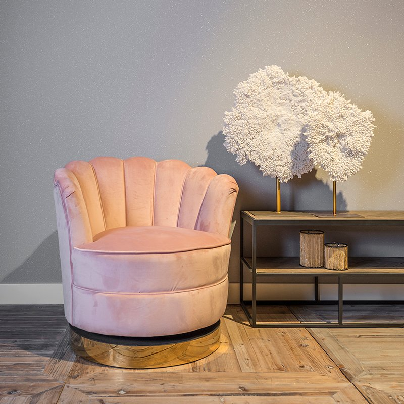Milana Pink Velvet Gold Trim Scallop Back Swivel Feature Chair