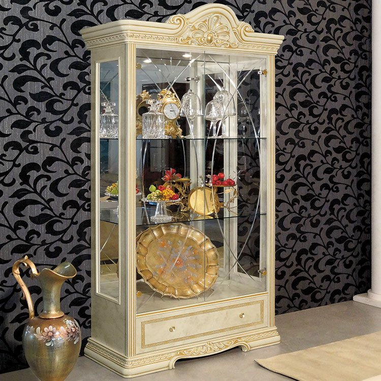 Varazze Ornate Gold & Ivory 2 Door Display Cabinet With Lights