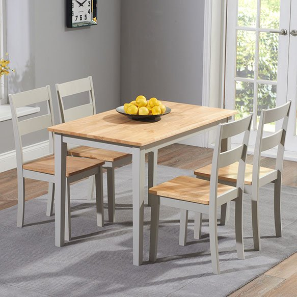 Chichester Oak Grey Painted 5 Piece 1.15m Dining Set