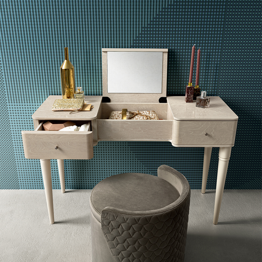 Malliana Ivory Birch High Gloss 2 Drawer Dressing Table (with flip up mirror)