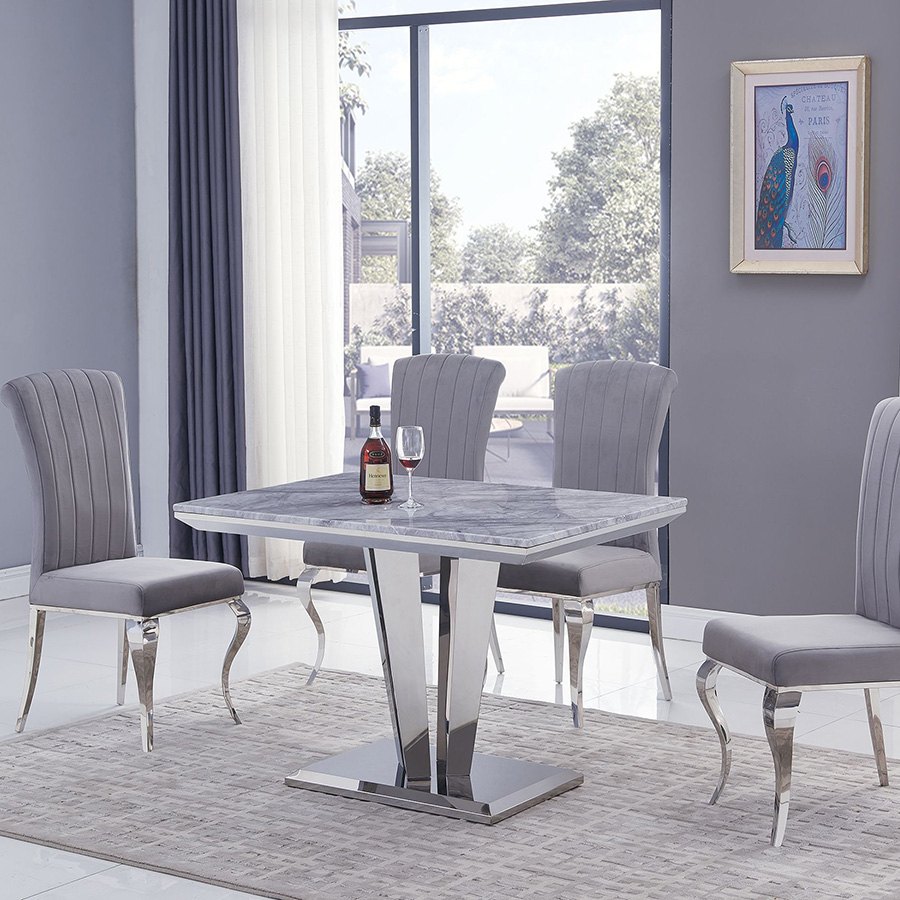 Riccardo Liyana Grey Marble & Chrome 1.2m 5 Piece Dining Set - Grey Chairs