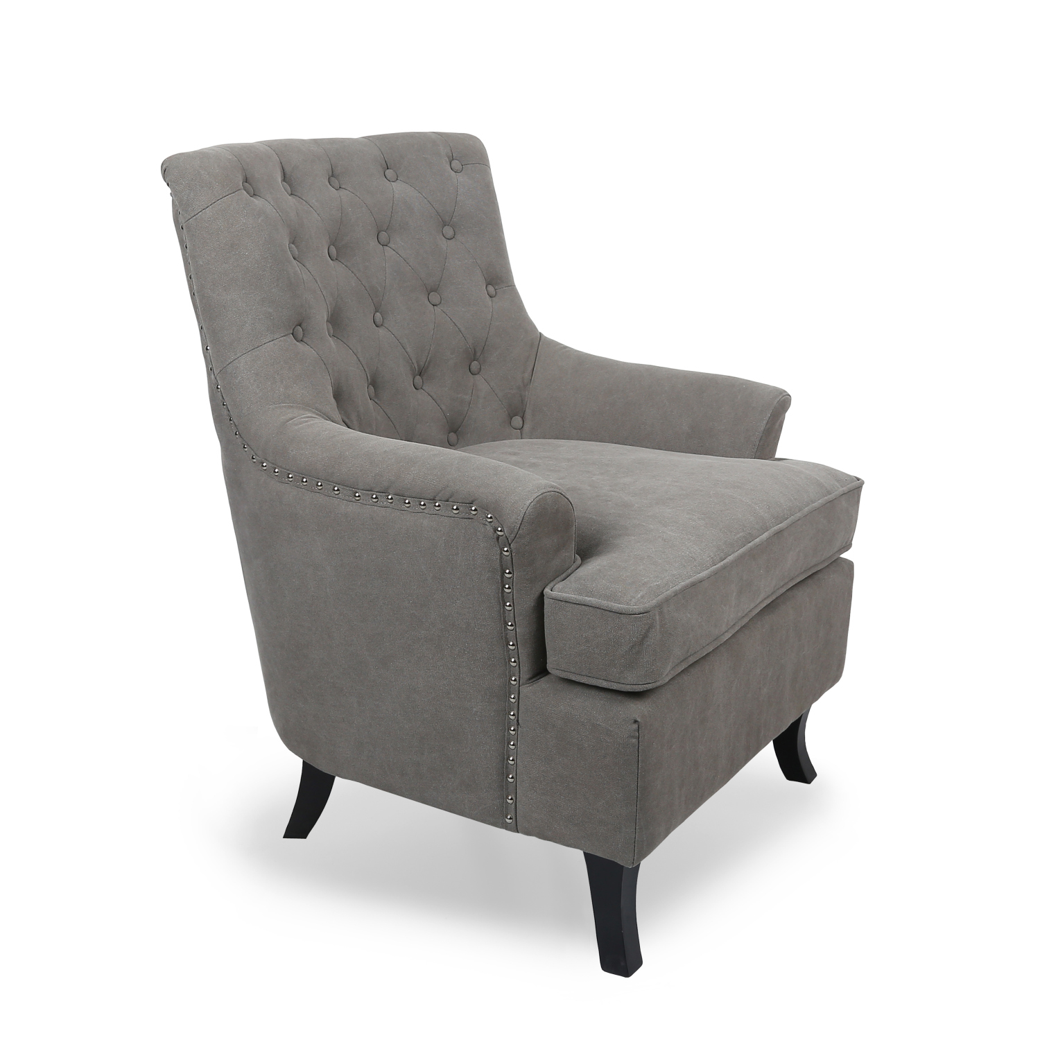 Justin Buttoned Studded Armchair