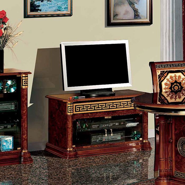 Italian MEDUSA Venice Walnut High Gloss & Gold Small TV Cabinet