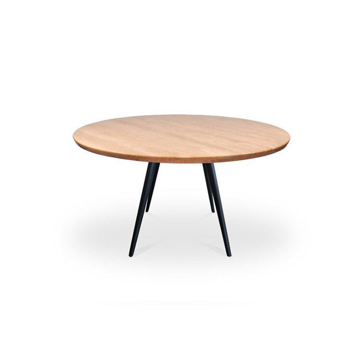 Romano Beige Marble 1.3m Round Dining Table - Iroh Black Steel Base