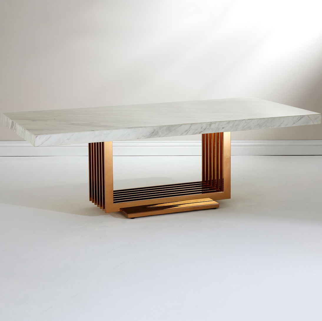 Moda White Marble & Rose Gold Coffee Table