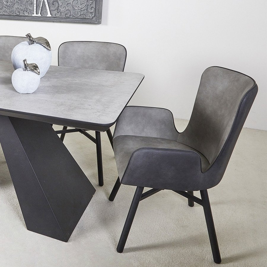 Stockley Two-Tone Grey Suede Dining Chair