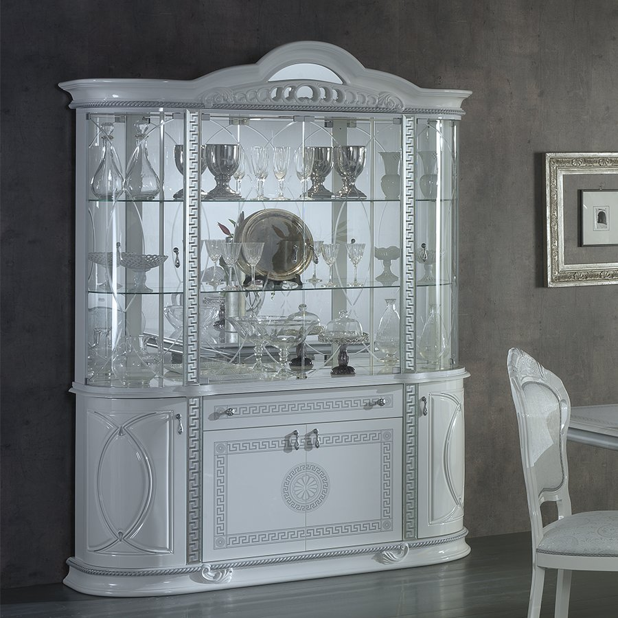 Vittorio White & Silver High Gloss 4 Door Display Cabinet