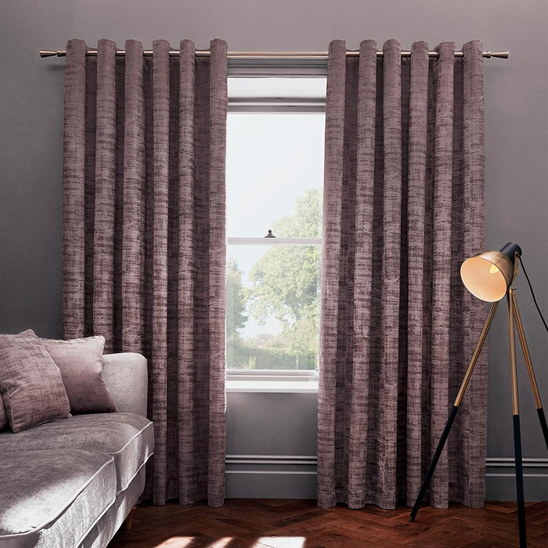 Naples Heather Velvet Readymade Eyelet Curtain