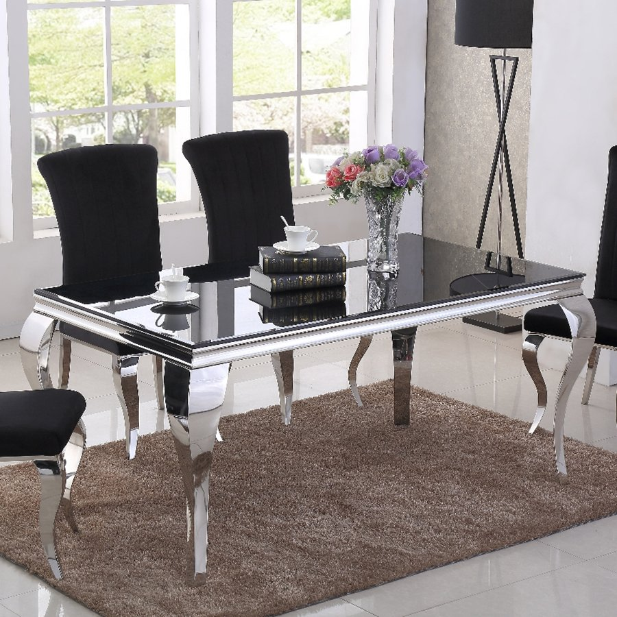 Liyana 1.6m Black Glass & Chrome Dining Table