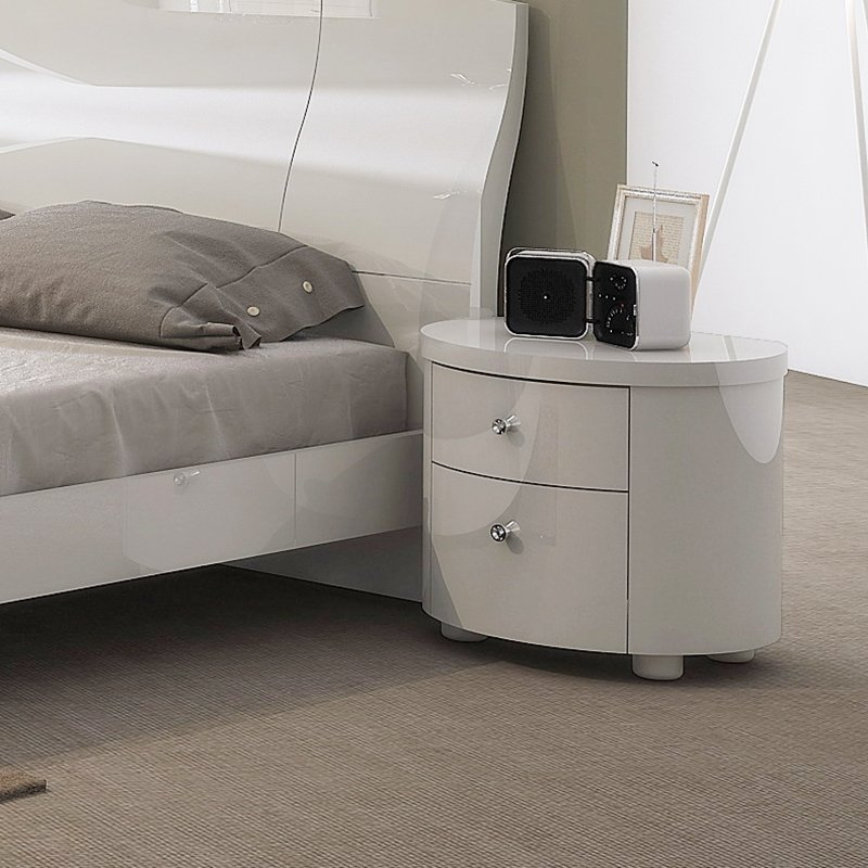 Voyage White High Gloss 2 Drawer Bedside Table