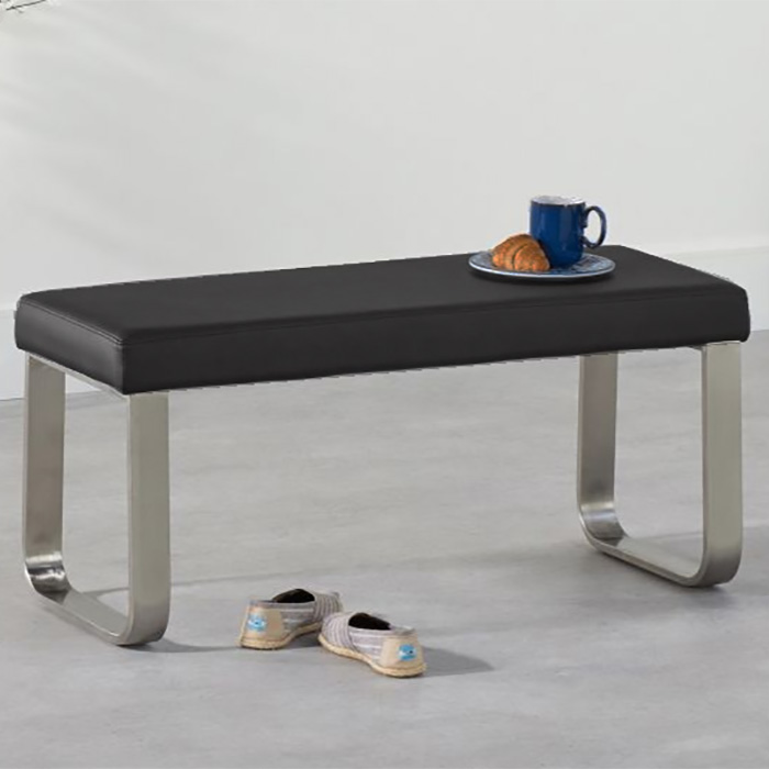 Ava Black Small Faux Leather & Chrome Bench