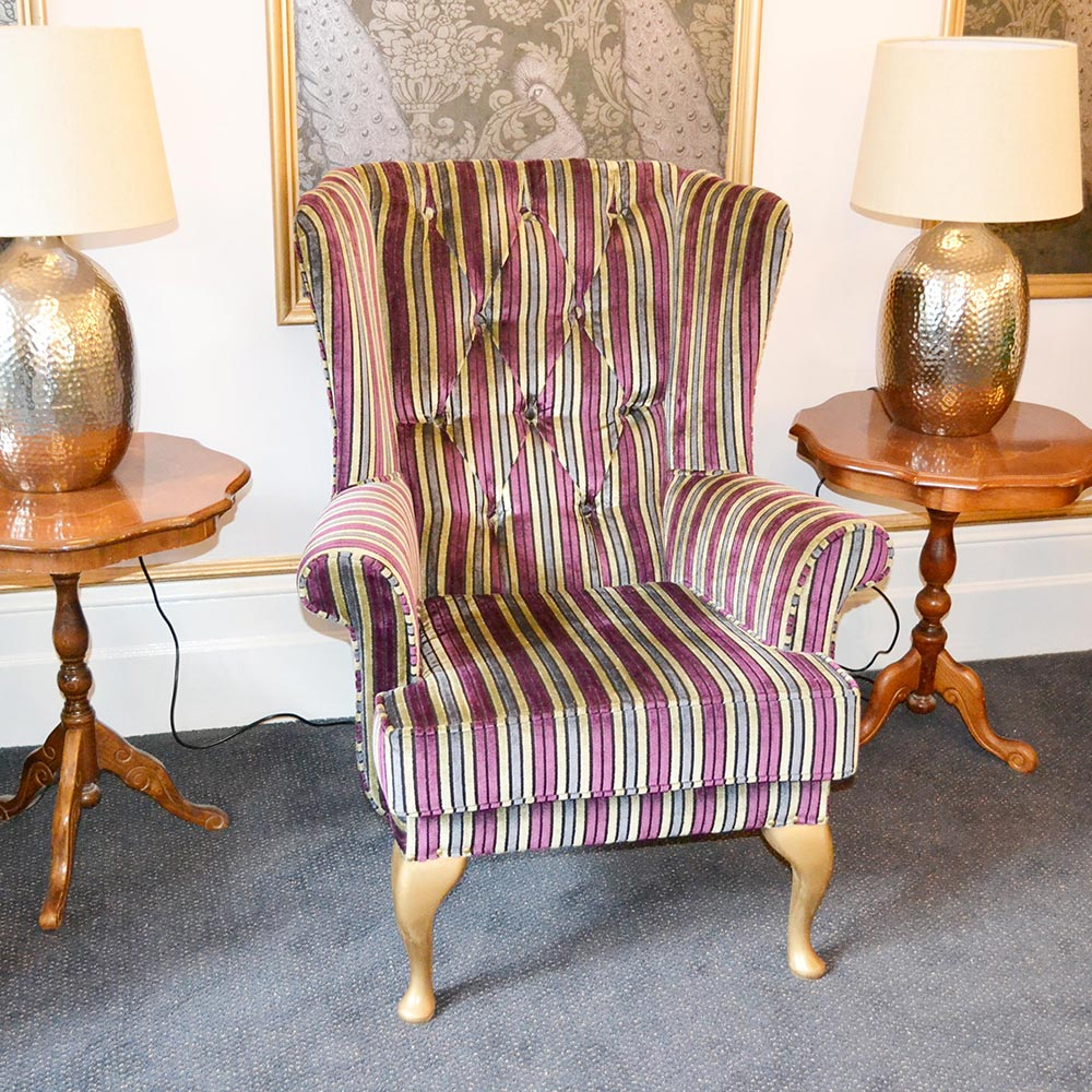 Bespoke Striped Knoll Wingback Buttoned Armchair