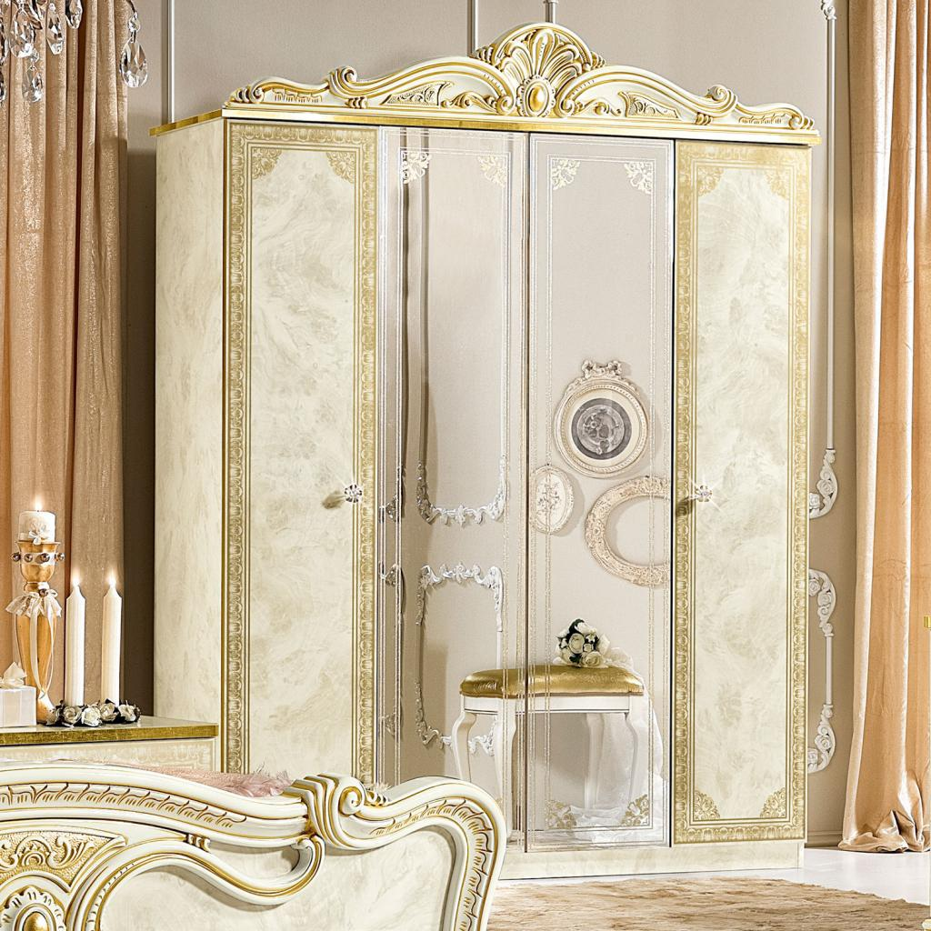 Varazze Ivory High Gloss & Gold Leaf 4dr Mirrored Wardrobe