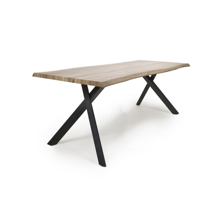 Neburn Curved Oak 1.8m Industrial Dining Table