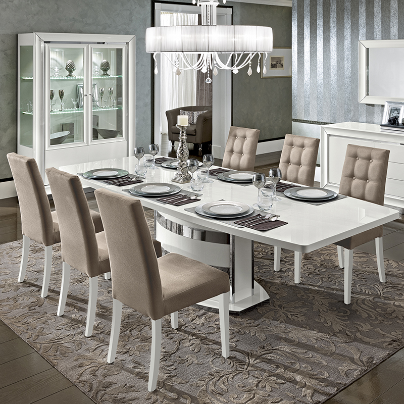 Bianca White High Gloss Extending 2-2.45m Dining Table