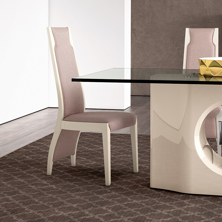 Londres High Gloss & Fabric Dining Chair